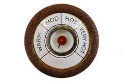 Termometro rotondo dell'annata Fotografie Stock Libere da Diritti