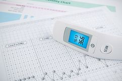 Termometro senza contatto sul grafico di fertilità fotografia stock