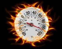 Termometro sul nero del fuoco Fotografie Stock