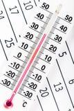 Termometru obsiadanie na kalendarzowym prześcieradle Zdjęcia Stock