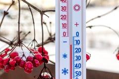 Termometru shows10 stopnie mrozu termometr na tle dguelder wzrastali Pogodowy forecast_ zdjęcia stock