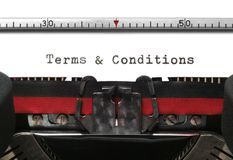 Termos & condições da máquina de escrever Fotografia de Stock