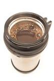 Termos con la bevanda del caffè isolata Fotografia Stock