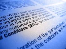 Termos e condições gerais de GTC Imagem de Stock