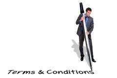 Termos e condições da escrita do homem de negócios com um soldado Imagem de Stock