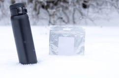 Termoskaffe och thermo packe med mat royaltyfria foton