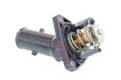 Termostato com uma tubulação nas peças de motor do fundo do branco Imagem de Stock