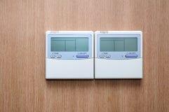 Termostato con il ventilatore ed il controllo di temperatura Fotografia Stock Libera da Diritti