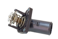 Termostato con un tubo sulle componenti del motore di un fondo di bianco Fotografie Stock Libere da Diritti