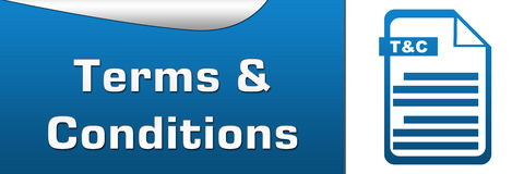 Terms and Conditions Blue Grey Banner Stock Image