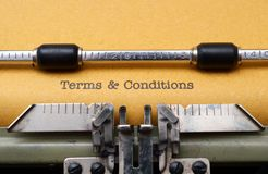 Terms and conditions. CLose up of Terms and conditions Stock Photo