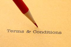 Terms and conditions. CLose up of Terms and conditions Stock Images