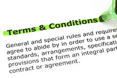 Terms and Conditions highlighted in green Stock Photos