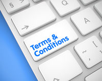 Terms And Conditions - Inscription on the White Keyboard Button. Royalty Free Stock Photo