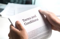 Terms and conditions text in legal agreement or document. Terms and conditions text in legal agreement or document about service, insurance or loan policy stock image