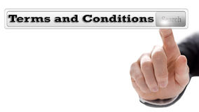 Terms and conditions. Written in search bar on virtual screen Stock Photos