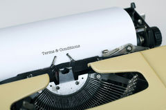 Terms and Conditions. Written by typewriter Stock Image