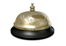 Terms Of Service Bell. A regular metal and plastic hotel or service bell with the words terms of service punched into the metal Stock Photos