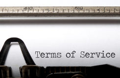 Terms of service. Printed on a typewriter Royalty Free Stock Photography