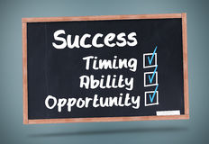 Terms of success written on a chalkboard Royalty Free Stock Images