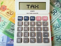 Terms of tax written on calculator with Malaysia coins and bank notes. stock image