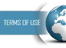 Terms of use. Concept with globe on white background royalty free illustration
