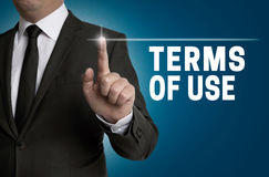 Terms of use touchscreen is operated by businessman Royalty Free Stock Photos