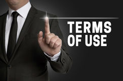 Terms of use touchscreen is operated by businessman Royalty Free Stock Photography