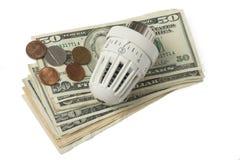 Termóstato y dinero blancos Imagen de archivo libre de regalías