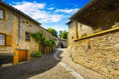 Ternand村庄小街道在博若莱红葡萄酒土地 免版税库存图片