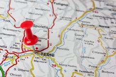 Terni fijó en un mapa de Italia Foto de archivo libre de regalías