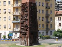 Terni - Obelisk `lance of light`. Obelisk `lance of light` by Arnaldo Pomodoro in Terni, called the `town of the iron` or the `italian Manchester` in Umbria Stock Photo