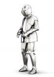 Terno de armadura para todo o corpo isolado no fundo branco 3d arrancam Imagens de Stock Royalty Free