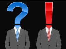 Terno de negócio com pergunta e marca de exclamação ilustração do vetor