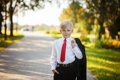 Terno de negócio vestindo do rapaz pequeno e laço vermelho no fundo da natureza fotografia de stock royalty free