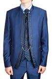 Terno do casamento dos homens ou vestido de noite azul, isolado no branco Fotografia de Stock