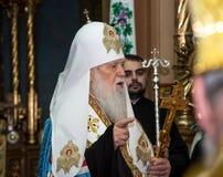 """Ternopil,  de DeÑ del †de UCRANIA """" 18, 2018: Patriarca honorario de la iglesia ortodoxa ucraniana autocephalous unida Filaret imagen de archivo"""