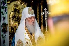 """Ternopil,  de DeÑ del †de UCRANIA """" 18, 2018: Patriarca honorario de la iglesia ortodoxa ucraniana autocephalous unida Filaret imagenes de archivo"""