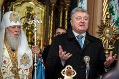 """Ternopil,  de DeÑ del †de UCRANIA """" 18, 2018: Patriarca honorario de la iglesia ortodoxa ucraniana autocephalous unida Filaret fotografía de archivo"""