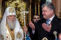 """Ternopil,  de DeÑ del †de UCRANIA """" 18, 2018: Patriarca honorario de la iglesia ortodoxa ucraniana autocephalous unida Filaret fotos de archivo libres de regalías"""