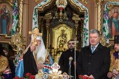 "Ternopil,  de DeÑ del †de UCRANIA "" 18, 2018: Patriarca honorario de la iglesia ortodoxa ucraniana autocephalous unida Filaret foto de archivo"