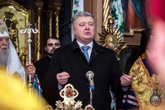 "Ternopil, de OEKRAÏNE †""DeÑ  18, 2018: Erepatriarch van de verenigde autocephalous Oekraïense Orthodoxe Kerk Filaret en royalty-vrije stock afbeeldingen"