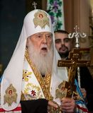"Ternopil, de OEKRAÏNE †""DeÑ  18, 2018: Erepatriarch van de verenigde autocephalous Oekraïense Orthodoxe Kerk Filaret tijdens a stock afbeelding"