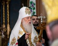 "Ternopil, de OEKRAÏNE †""DeÑ  18, 2018: Erepatriarch van de verenigde autocephalous Oekraïense Orthodoxe Kerk Filaret tijdens a stock foto"