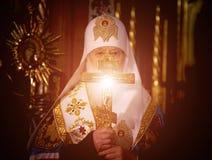 "Ternopil, de OEKRAÏNE †""DeÑ  18, 2018: Erepatriarch van de verenigde autocephalous Oekraïense Orthodoxe Kerk Filaret tijdens a royalty-vrije stock foto"