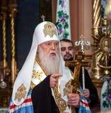 "Ternopil, de OEKRAÏNE †""DeÑ  18, 2018: Erepatriarch van de verenigde autocephalous Oekraïense Orthodoxe Kerk Filaret tijdens a stock fotografie"