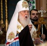 "Ternopil, de OEKRAÏNE †""DeÑ  18, 2018: Erepatriarch van de verenigde autocephalous Oekraïense Orthodoxe Kerk Filaret tijdens a royalty-vrije stock fotografie"