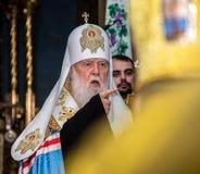 """Ternopil, de OEKRAÏNE †""""DeÑ  18, 2018: Erepatriarch van de verenigde autocephalous Oekraïense Orthodoxe Kerk Filaret tijdens a royalty-vrije stock afbeeldingen"""