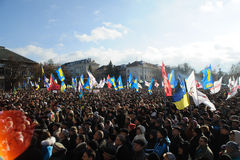 Ternopil, de OEKRAÏNE: Protest op Euromaydan in Ternopil tegen de voorzitter Yanukovych Royalty-vrije Stock Foto