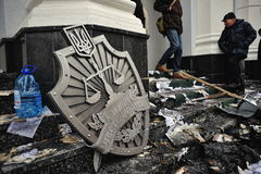 Ternopil, UCRÂNIA - em fevereiro de 2014: Euromaidan volta fotografia de stock royalty free